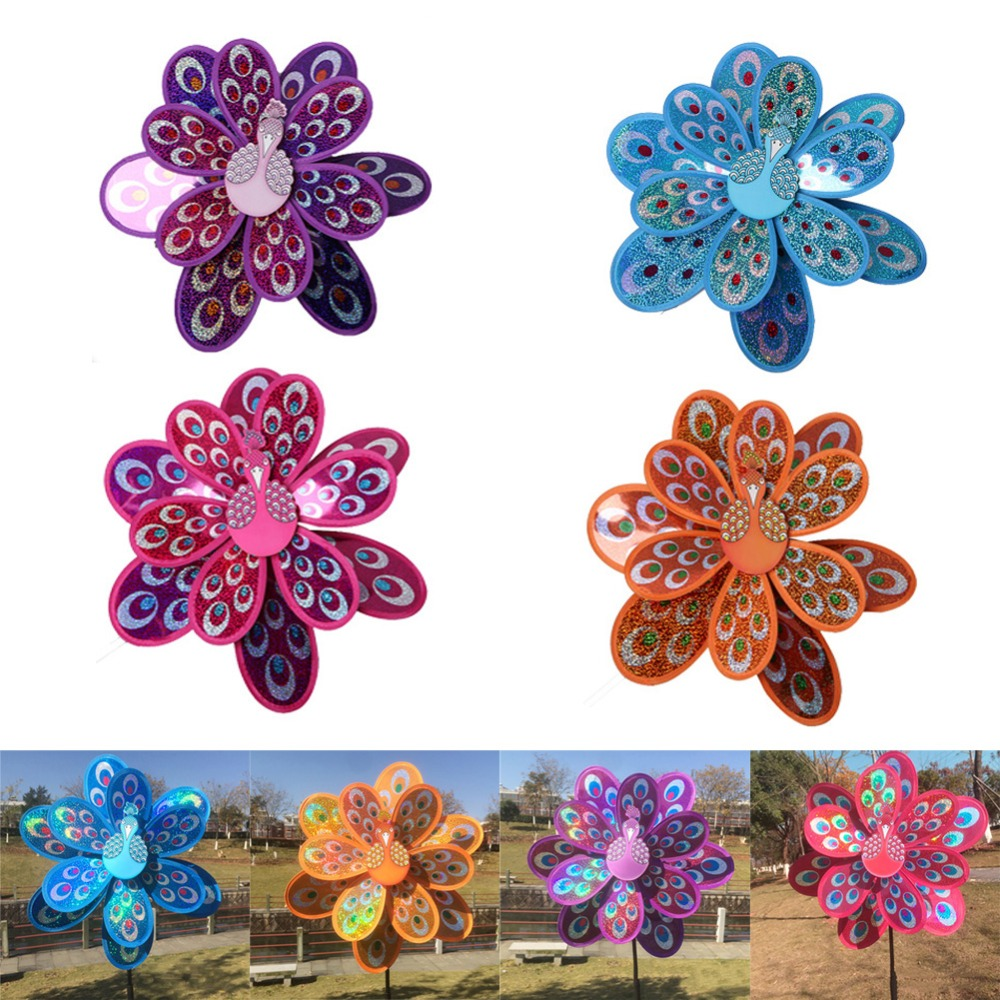 New Double Layer Multicolor Peacock Laser Sequins Windmill Colorful Wind  Spinner Garden Toy For Garden Decor