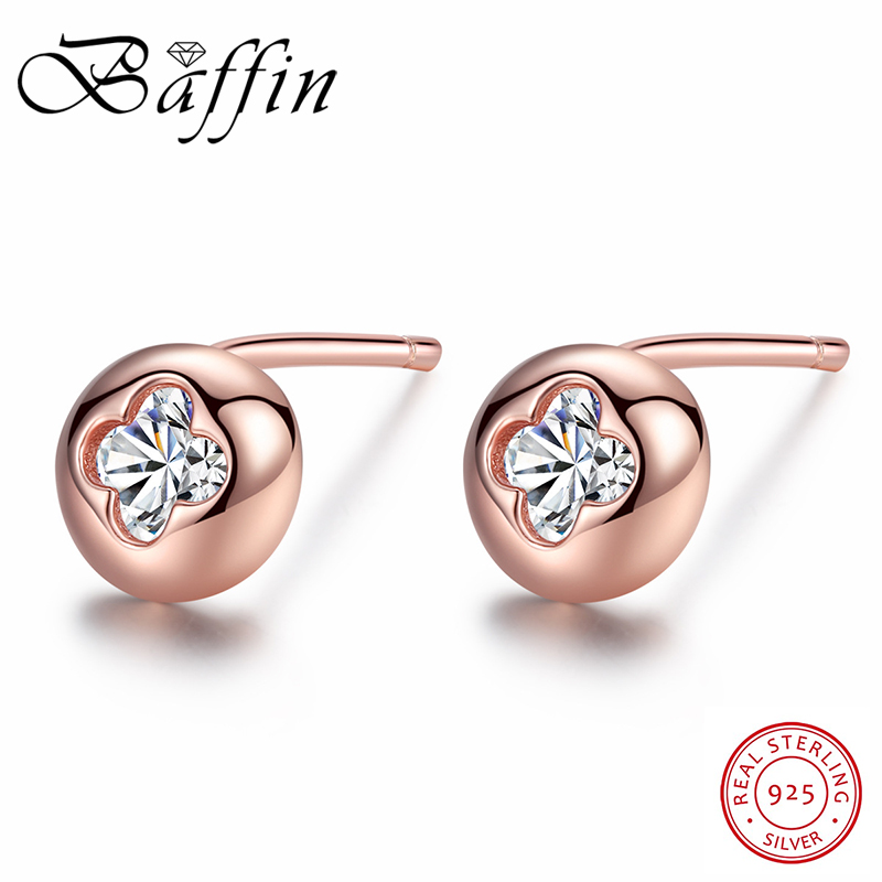 BAFFIN Simple Fashion Round Stud Earrings Rose Gold Color Real 925 Sterling Silver Jewelry White Zircon Earrings For Women Gift