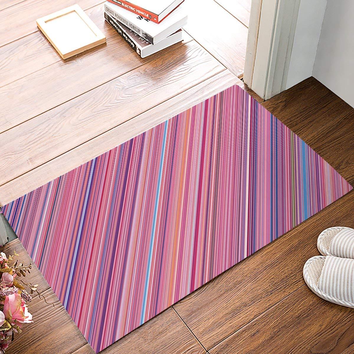 Pink Purple Blue Diagonal Stripe Door Mats Kitchen Floor