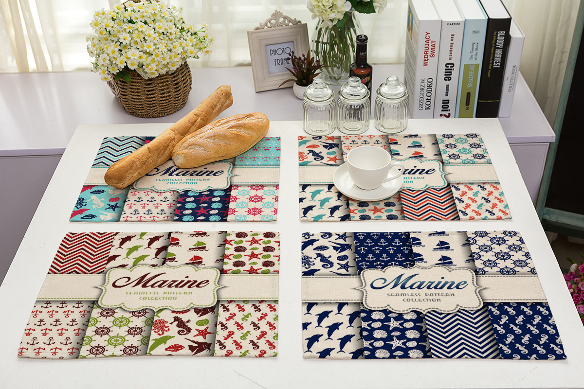 Printed Cotton linen Placemat for Dining Table Mediterranean Navigation Pattern Mantel Individual Tablecloth Coaster Set Cup Pad in Mats Pads from Home Garden