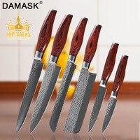 Damask наборы кухонных ножей Дамасская сталь ножи шеф повара 8 дюймов слайсер для шеф повара нож для хлеба острый прочный двойной головкой стал