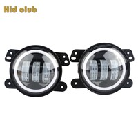 HIDCULB 4Inch 30W Round Fog Light Headlight Projector Lens With Halo DRL Lamp For Offroad Jeep