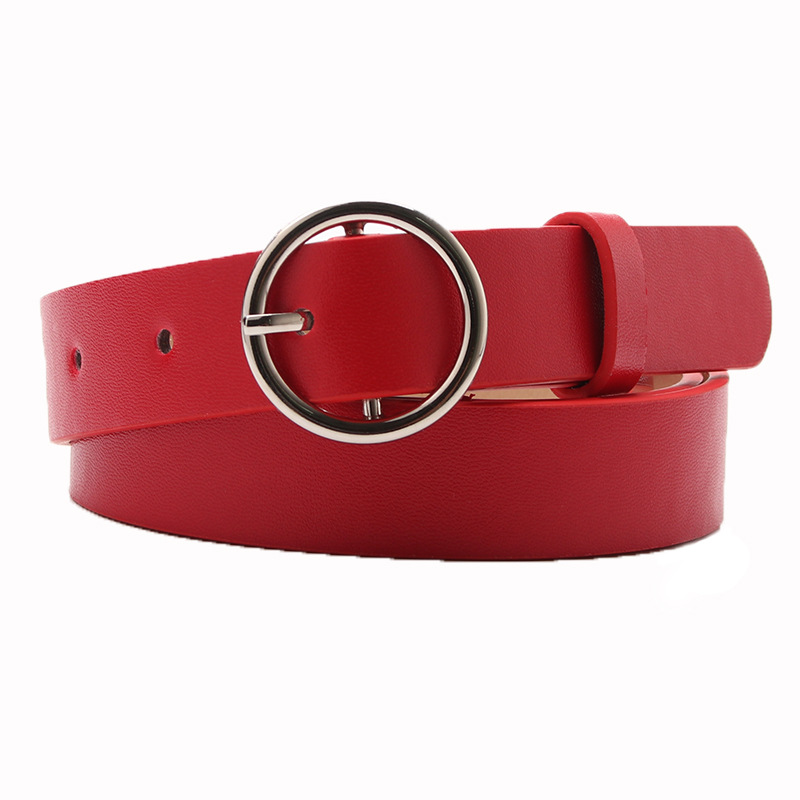 New Gold Round Metal Circle Belt Female Red Gray Black PU Leather Waist Belts For Women Jeans Pants Wholesale
