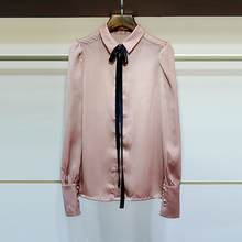 J 2017 autumn and winter women turn-down collar bow tie lacing all-match solid color shirt top 5400201