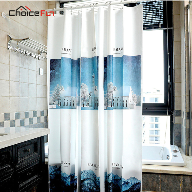 CHOICEFUN Fashion Bath Decor Designer Washable Waterproof Flower Hookless 3D Printed Plant PEVA Shower Curtain For
