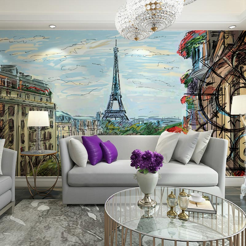 Eiffel Tower Oil Painting Wall Paper Mural Home Decor ...  Eiffel Tower Oi...