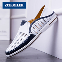 ZCDOMLER 2019 Men Shoes Summer Breathable Casual Shoes Genuine Leather Loafers Men White Driving Shoes Luxury Mocassin Homme