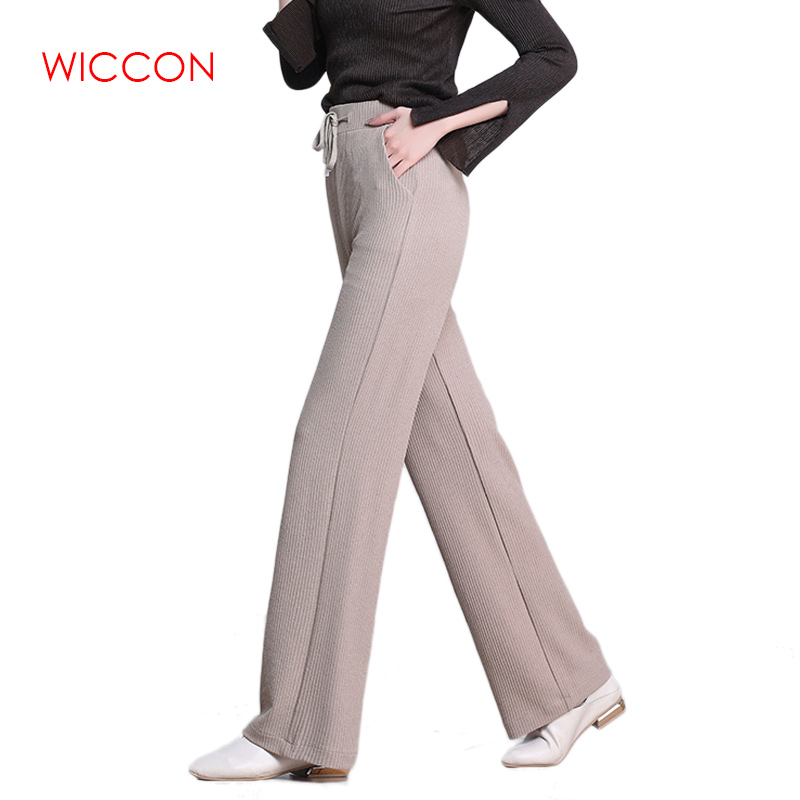 2019 Women Summer New Strip Knit   Wide     Leg     Pants   Large Size Female Solid Drawstring Straight Trousers