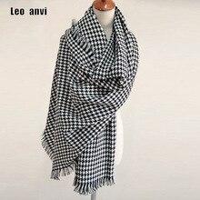 """Роскошный брендовый шарф для женщин в клетку bufandas mujer, черный теплый шарф с узором """"гусиная лапка"""", женские зимние шарфы, шали, одеяло, шарф"""
