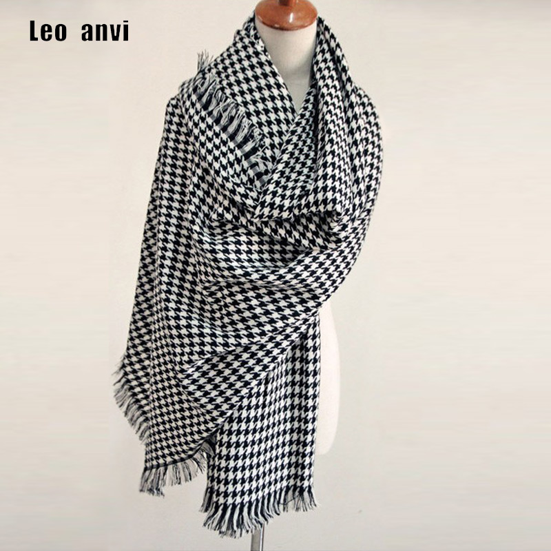 2019 Luxury Brand Scarf For Women Plaid Bufandas Mujer Black Houndstooth Warm Scarf Women Winter Scarves Shawls Blanket Scarf