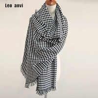 2019 bufanda de marca de lujo para mujer bufandas a cuadros mujer negro pata de gallo bufanda cálida bufandas de invierno de mujer chales tipo manta bufanda