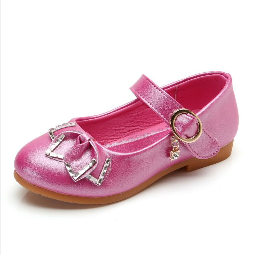 New Princess Bow Tie Kids Baby Fashion Leather Shoes 2018 Girls School 4 6 8 12 14 Years Wedding Party Birthday Dress Shoes 25