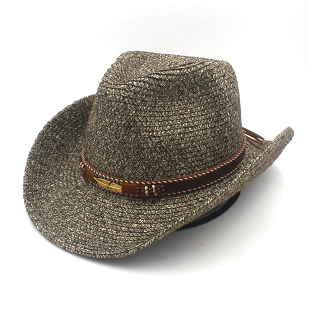 Musim panas Toquilla Jerami Topi Koboi Barat Dengan Pekerjaan Tangan Kulit Wanita  Pria Berongga Untuk Ayah Roll up Jazz Topi Sombrero di Topi Koboi dari ... 6aa3fb3427