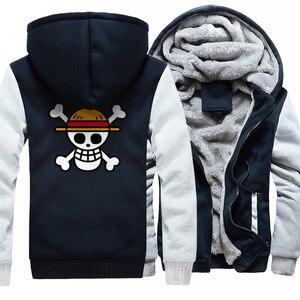 Image 3 - One piece Hoodies Männer Japanischen Anime Sweatshirts Mantel 2019 Winter Warme Fleece Dicken Zipper Harajuku Jacke Streetweart Herren Tops