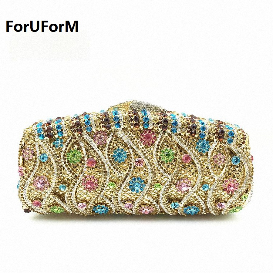 ForUForM Created Diamond Clutch Handbag Fashion Brand Lady Evening Bag Dinner Party Clutches Colourful Crystal Purse LI-1571 aidocrystal heart shape factory direct sell fashion woman diamond clutch for lady