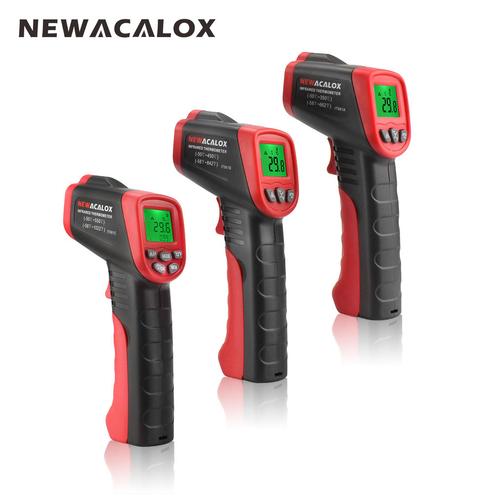 NEWACALOX Display LCD Termometro Digitale Senza contatto A Infrarossi Tester di Temperatura Industriale Pistola del Punto del Laser di IR Temp Test-strumento