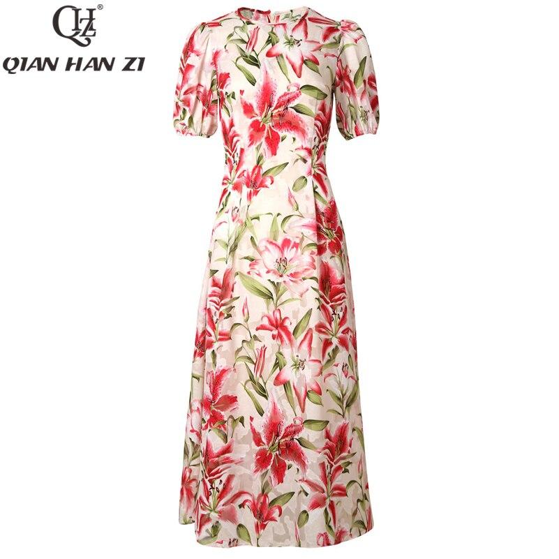Qian Han Zi 2019 diseñador moda verano Maxi Vestido Mujer manga corta elegante Flor de lirio estampado Jacquard dulce largo vestido-in Vestidos from Ropa de mujer    2
