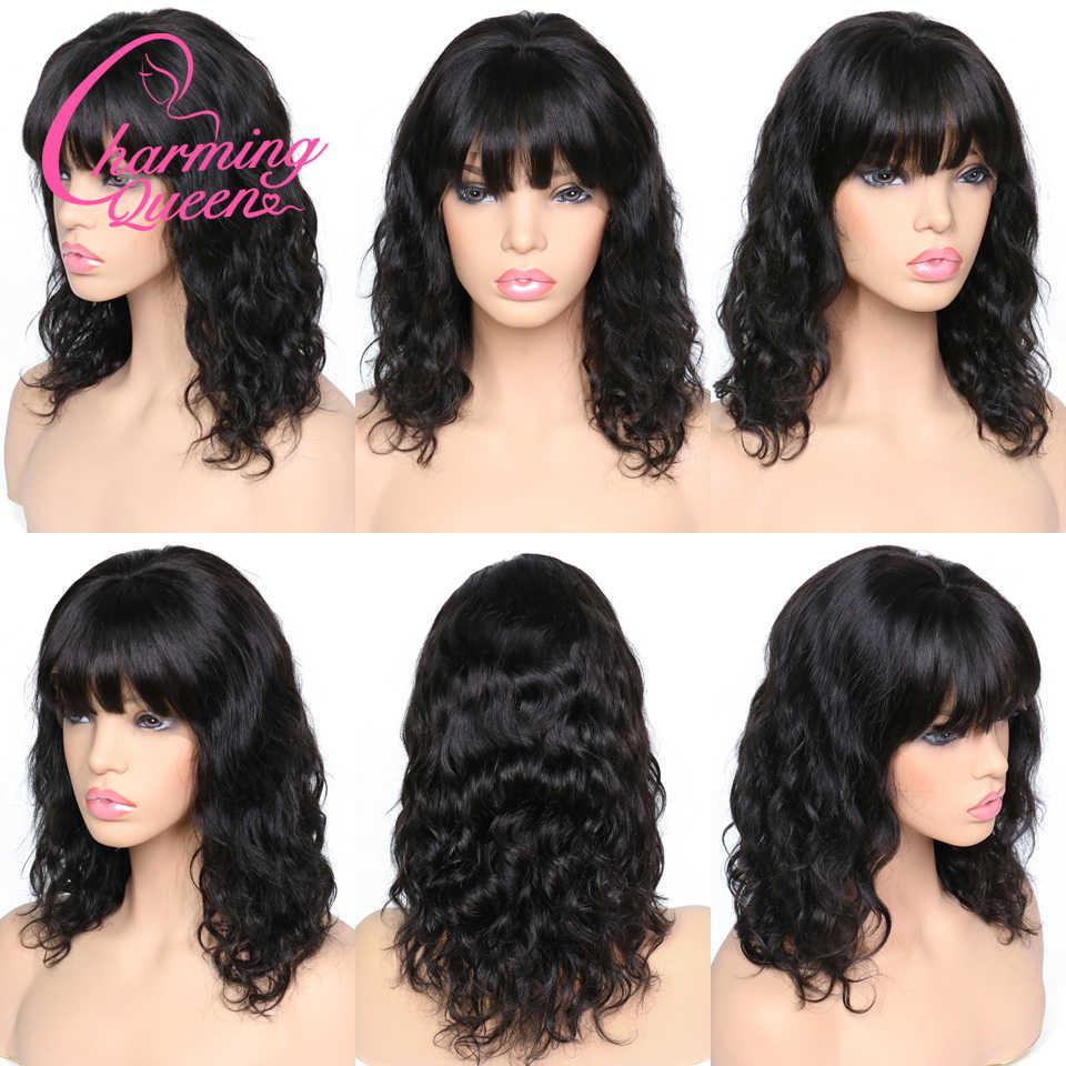 Парики из натуральных волос на кружеве для черных женщин, натуральные бразильские волосы remy, бесклеевой парик на сеточке с челкой, отбеленные узлы