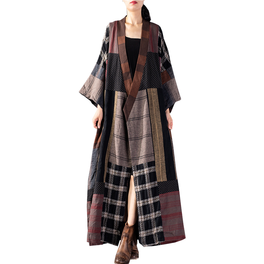 2019 Women Spring   Trench   Coat Open Stitch Cotton Linen Women Long Coat Casaco Feminino Vintage Tops For Women Coat Outerwear