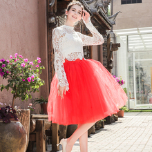 New Fashion 6 Layers 65cm Tulle Skirts Womens Black Gray White Adult Skirt Elastic High Waist Pleated Midi Clothing