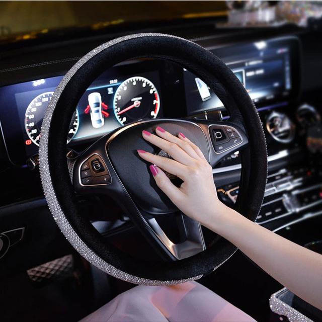 Cute Car Pendant Ornament Women Girl Steering Wheel Cover Phone Holder Diamond Car Ashtray Tissue Box Rhinestone Car Accessories