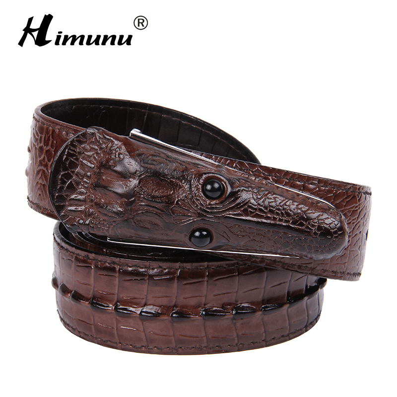 HIMUNU 2015 Crocodile Grain Genuine leather Belt For men Fashion Vintage Classic Male Smooth Buckle men Belt For Cow boy A11