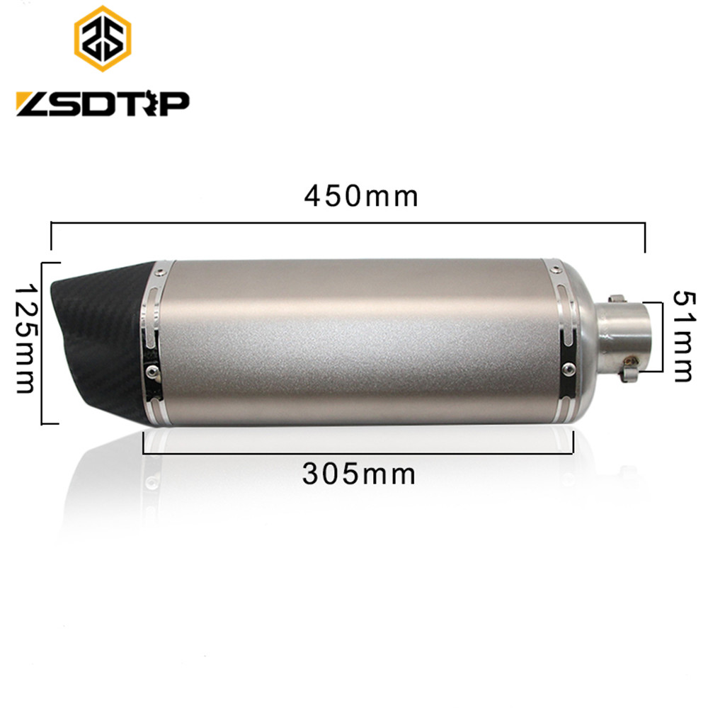 ZSDTRP Motorcycle Modified Scooter F125*305-C50 Exhaust Muffle pipe GY6 CBR CBR125 bjmoto universal motorcycle exhaust modified scooter akrapovic exhaust muffle fit for most motorcycle