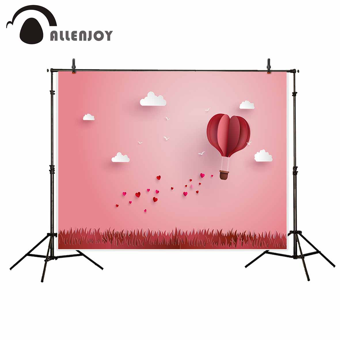 Allenjoy Pink background hearts cloud paper hot air balloon photography backdrops photography studio funds allenjoy photography background pink