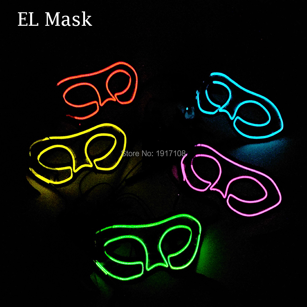 Wholesale 10 pcs Fashion Party Mask 10 color Available Women Mask glowing Mask By 3V Sound Activated EL Driver For Wedding Decor