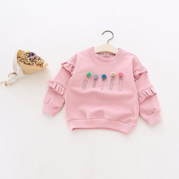 baby girl autumn fleece colorful fur balls pencil printed hoodies sweatshirt (4)