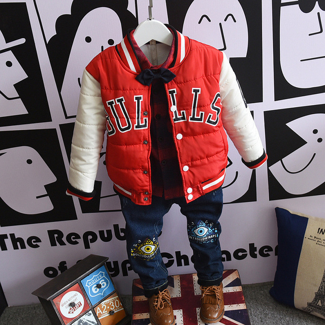 Fashion Kids Bulls Baseball Jacket Parkas Outwear Warm Child Children Teenage Cotton Coat Boy Girl Sports Shirt