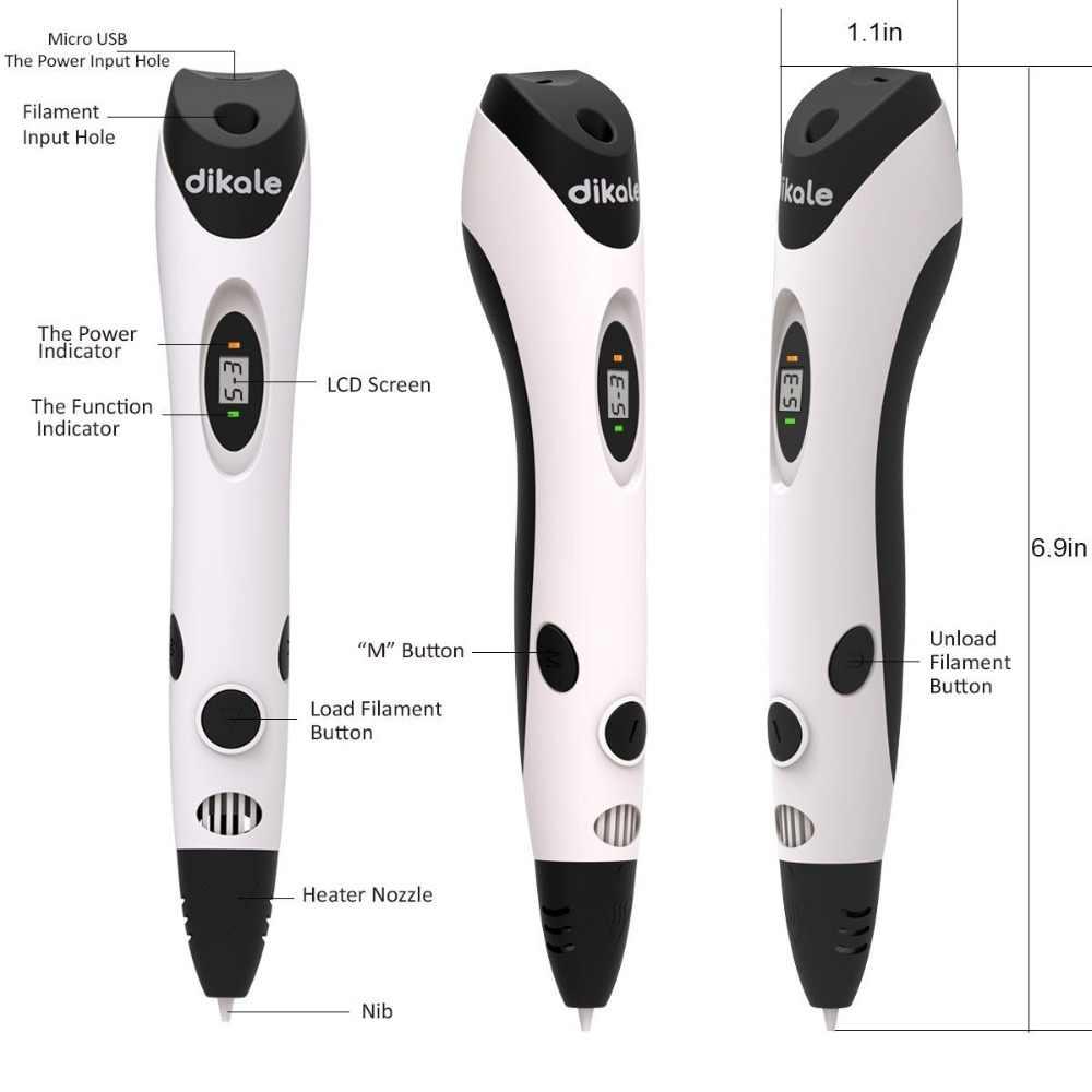 Dikale 3d desenho caneta 7th geração caneta impressora 3d lápis estêncil 3d stift drucker ebook recarga pla filamento criança adulto diy presente