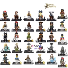 Single Captain Pirates of The Caribbean Jack Sparrow Classic movie figure building blocks models bricks toys for children kit