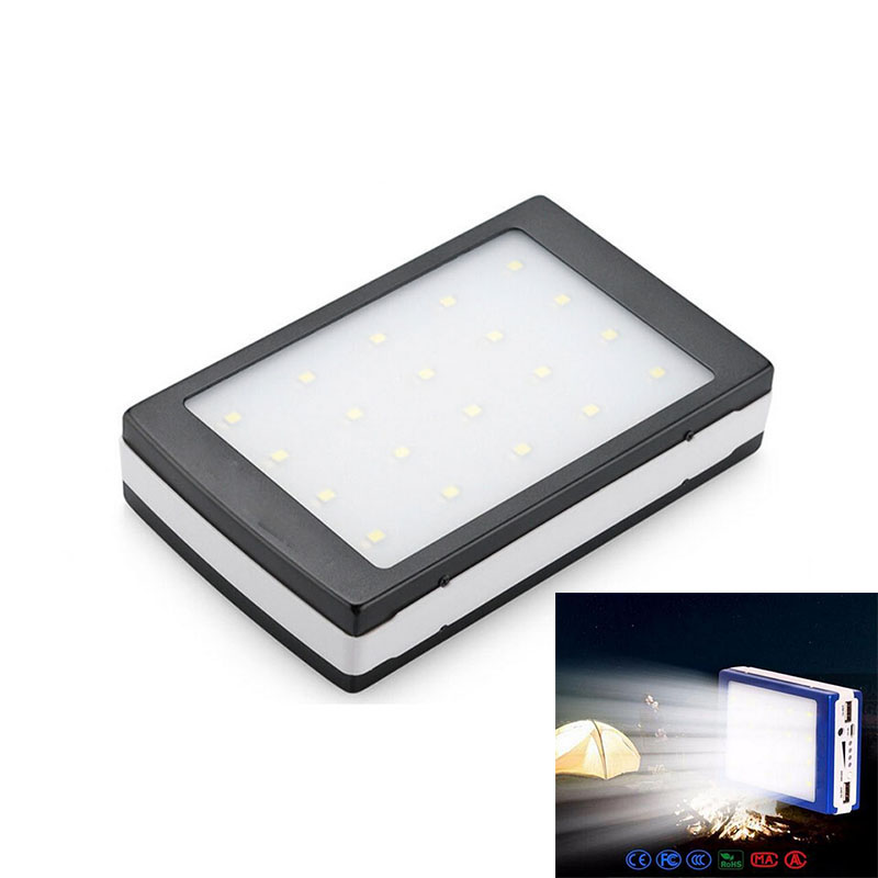 New original Dolidada Auceen Real 20000mAh Solar Power Bank+ LED Camping Light Backup Battery Charger Portable Rechargeabl