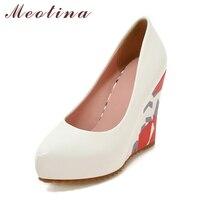 Meotina إمرأة منصة إسفين أحذية الزفاف الأبيض أحذية الزفاف أحذية عالية الكعب مضخات الربيع واشار تو زهرة الوردي الحجم 33-43