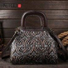 New retro leather handbag first layer of cowhide shoulder bag wipe embossed fashion handbags handbags недорого
