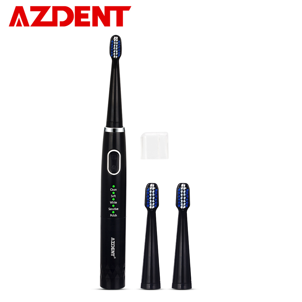 AZDENT 5 Modes Sonic Electric Toothbrush Battery Type No Rechargeable Tooth Brush Deep Cleaning With 3pcs Soft Heads For Adults