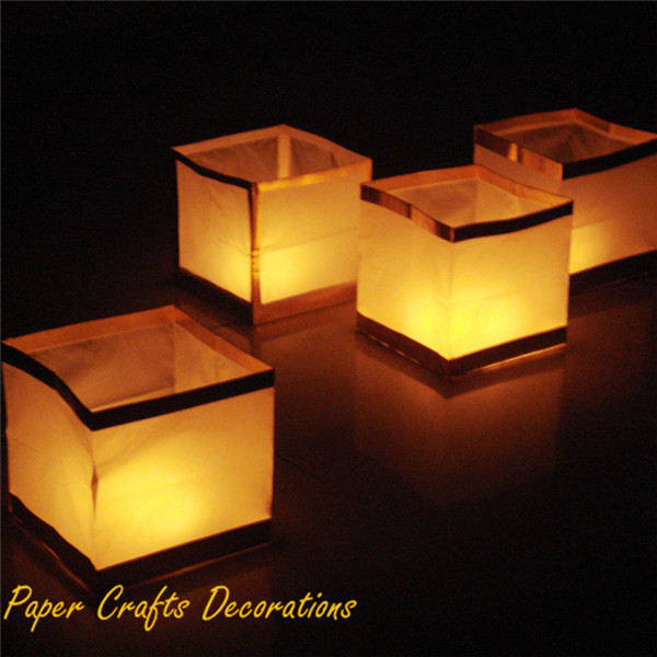 10pcs/lot 6inch Biodegradable Golder Water Lanterns Square Chinese Floating Lanterns On River Christmas Party Decorations