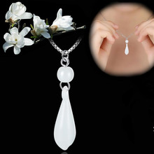 TJP Bright Water Drop Stone Pendants Necklace For Women Party Top Quality 925 Sterling Silver Choker Necklace Hot Girl Jewelry