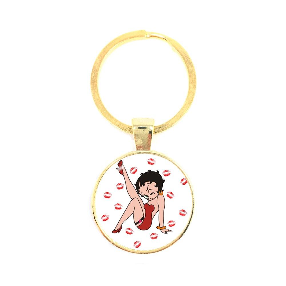 2018 New Betty Boop Uniform Dress Series Pattern Art Picture Keychain DIY Charms Keychain For Women Girls Wonderful Gift