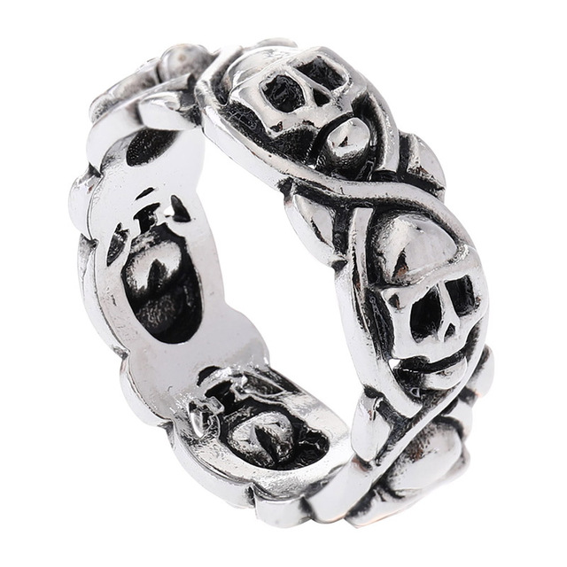 STAINLESS STEEL CIRCLE SKULL RINGS