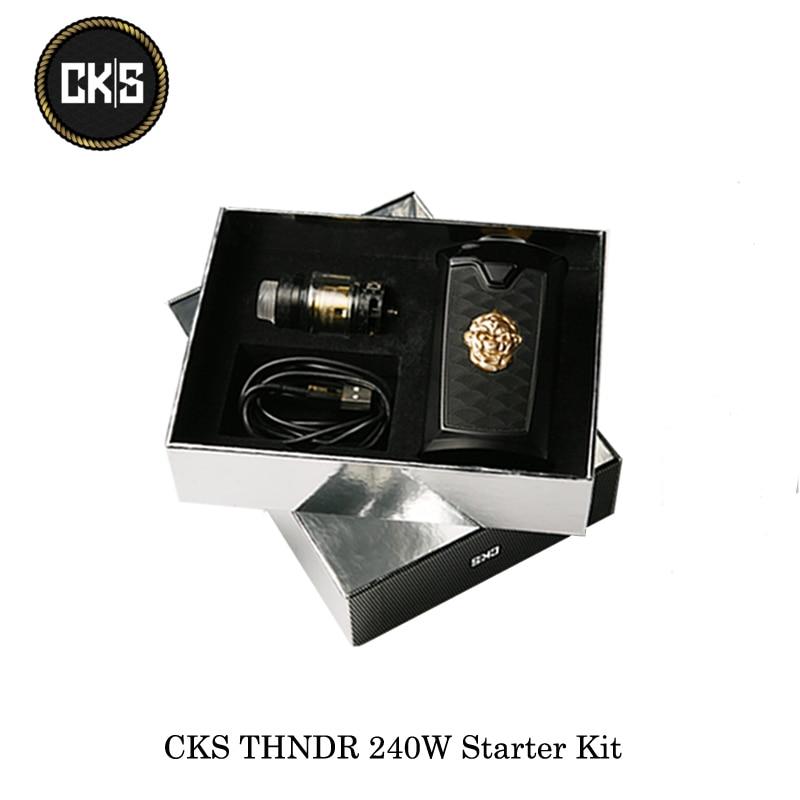 Sigarette elettroniche CKS THNDR 240 w Starter Kit Con Bullone Maglia Atomizzatore 6 ml Alimentato Da 18650/20700/ 21700 Vape Vaporizzatore Kit
