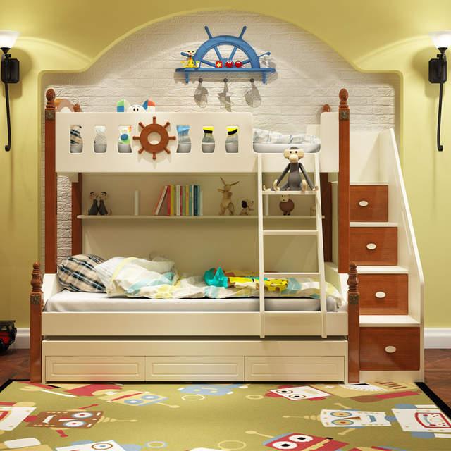 Bedden Voor Jeugd.Us 1012 0 Speciale Aanbieding Kinderen Bed Dubbel Bed Mediterrane Niveau Bed Cluster Jeugd Massief Houten Meubelen Fabriek Directe Verkoop In