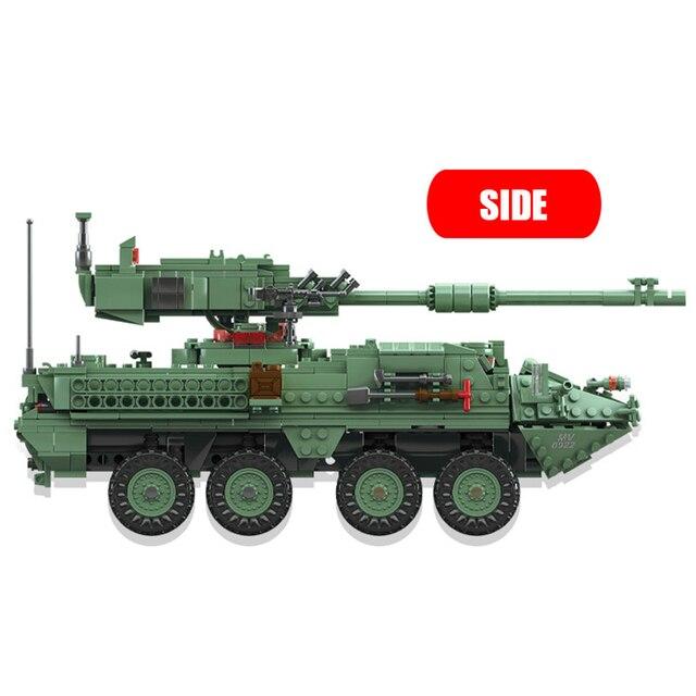 KAZI 10001 Century Military Technic weapon MGS-M1128 TANKS Building blocks set Armored vehicles DIY Bricks Toys for Children 3
