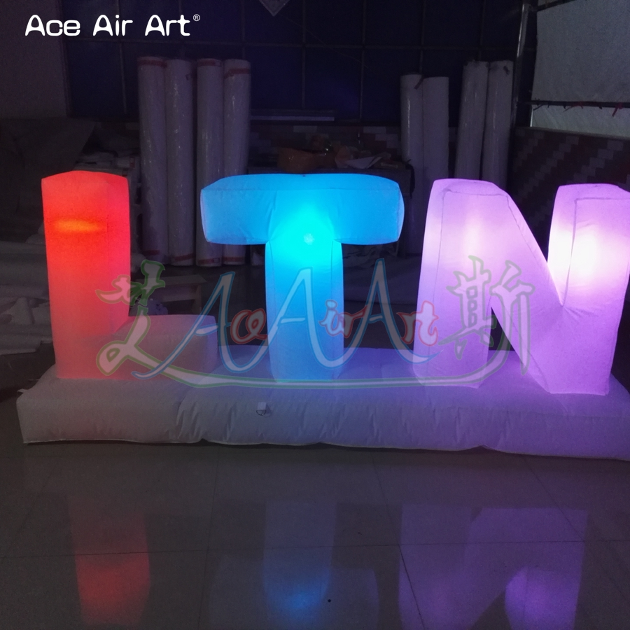 Customized led lighting inflatable letters of alphabet advertising billboard colorful letters set balloon for sale - 5