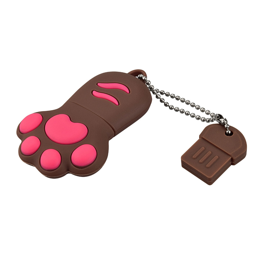 J boxing Brown USB Flash Drive 32GB Lovely Cat Claws Pendrive 16GB Memory Sticks Women 64GB Thumb Drive for Computer Mac Tablet in USB Flash Drives from Computer Office