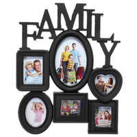 Family Photo Frame Wall Hanging 6 Multi-Sized Pictures Holder Display Home Decor Gift 30X37Cm Back Side with Pull Tabs