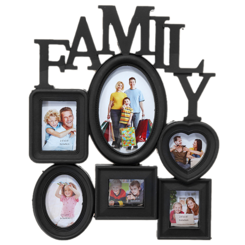 New Family Photo Frame Wall Hanging 6 Multi-Sized Pictures Holder Display Home Decor Gift 30X37Cm Back Side With Pull Tabs