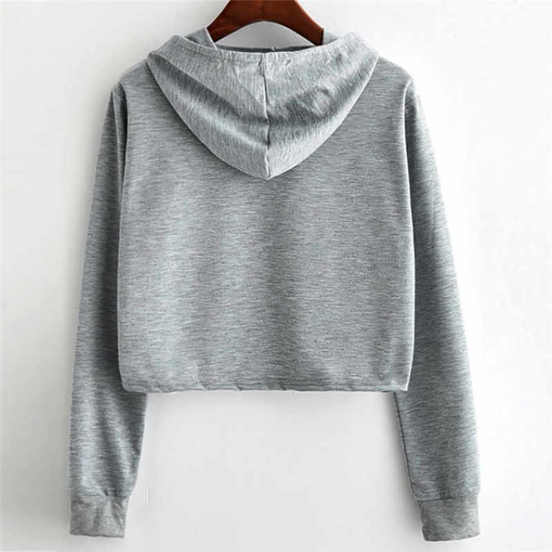ผู้หญิงแฟชั่นผู้หญิงหลวม - fit panda Top Sweatshirt ผู้หญิงสัตว์พิมพ์เสื้อแขนยาว Hooded Crop เสื้อ Pullover hoodies เสื้อ