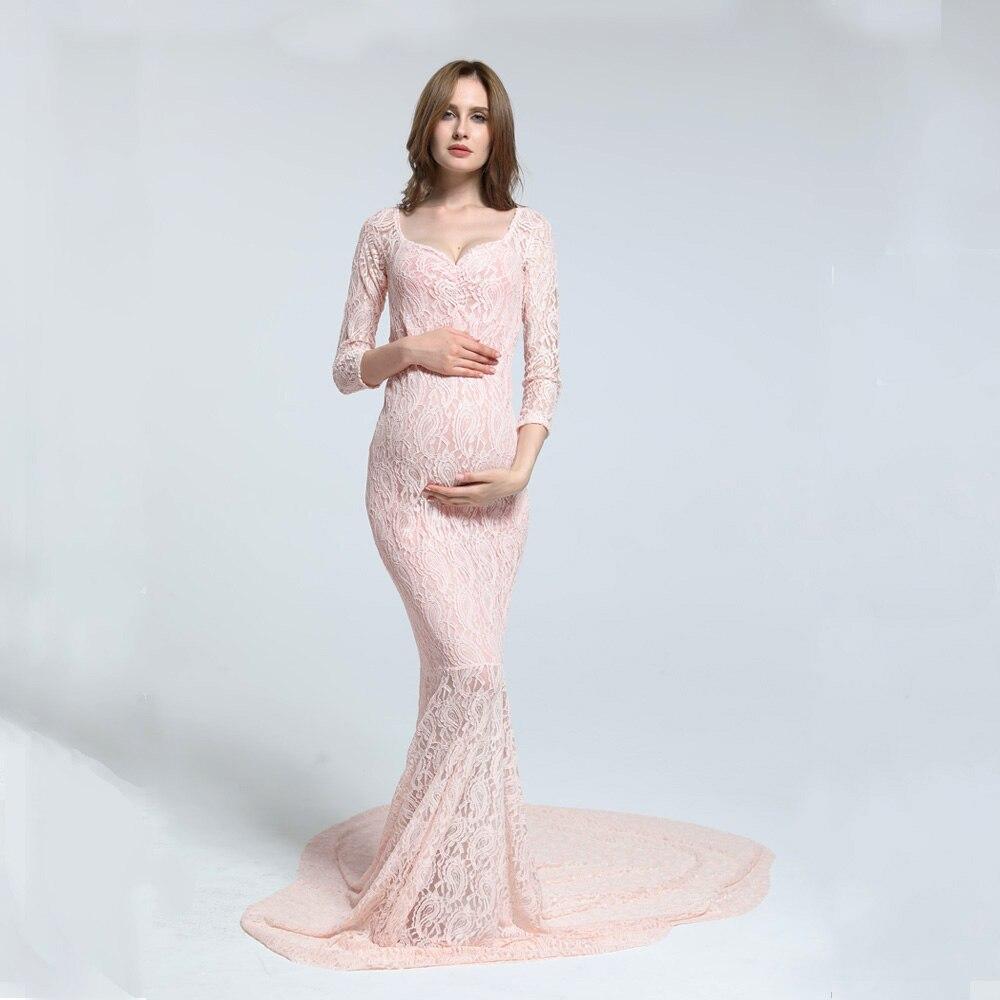 Clearance!Size M Stretch Lace Long Sleeve V Neck Fishtail Maternity Dress MATERNITY PHOTOGRAPHY DRESS BABY SHOWER GIFT